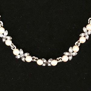 Monet silver tone faux pearl & rhinestone necklace